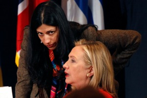 Hillary Clinton and Huma Abedin at the Open Government Partnership event in New York
